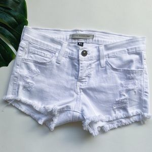FLYING MONKEY | DISTRESSED | WHITE DENIM SHORTS V6